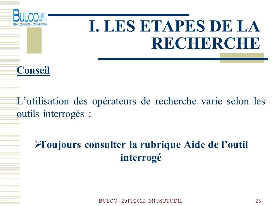 BULCO - 2011/2012 - M1 MUTUDIL23 I. LES ETAPES DE LA RECHERCHE Conseil Lutilisation des opérateurs de recherche varie selon les outils interrogés : To