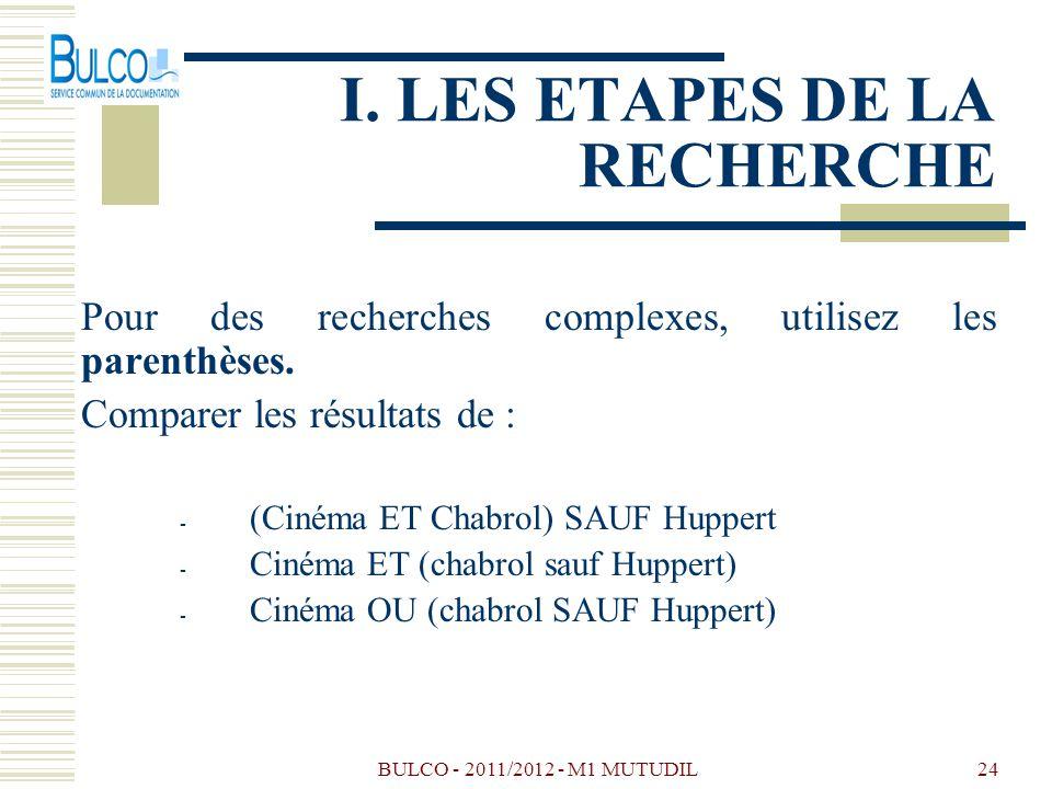 BULCO - 2011/2012 - M1 MUTUDIL24 I. LES ETAPES DE LA RECHERCHE Pour des recherches complexes, utilisez les parenthèses. Comparer les résultats de : -