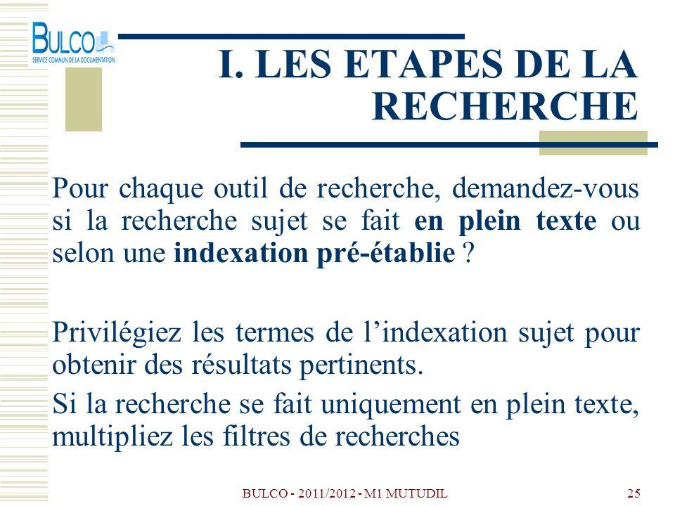 BULCO - 2011/2012 - M1 MUTUDIL25 I. LES ETAPES DE LA RECHERCHE Pour chaque outil de recherche, demandez-vous si la recherche sujet se fait en plein te
