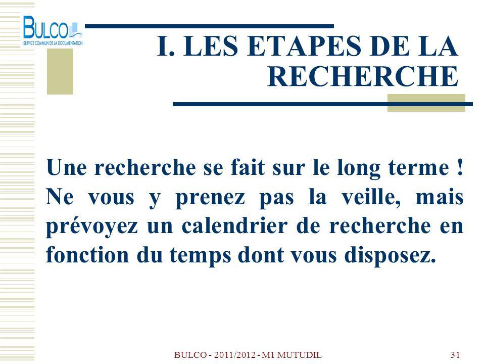 BULCO - 2011/2012 - M1 MUTUDIL31 I. LES ETAPES DE LA RECHERCHE Une recherche se fait sur le long terme ! Ne vous y prenez pas la veille, mais prévoyez