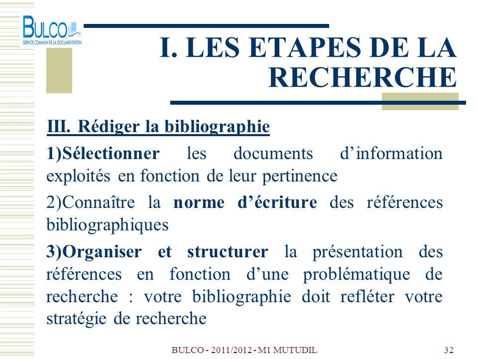 BULCO - 2011/2012 - M1 MUTUDIL32 I. LES ETAPES DE LA RECHERCHE III. Rédiger la bibliographie 1)Sélectionner les documents dinformation exploités en fo