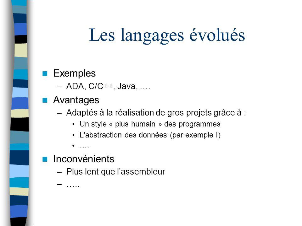 Les langages évolués Exemples –ADA, C/C++, Java, …. Avantages –Adaptés à la réalisation de gros projets grâce à : Un style « plus humain » des program