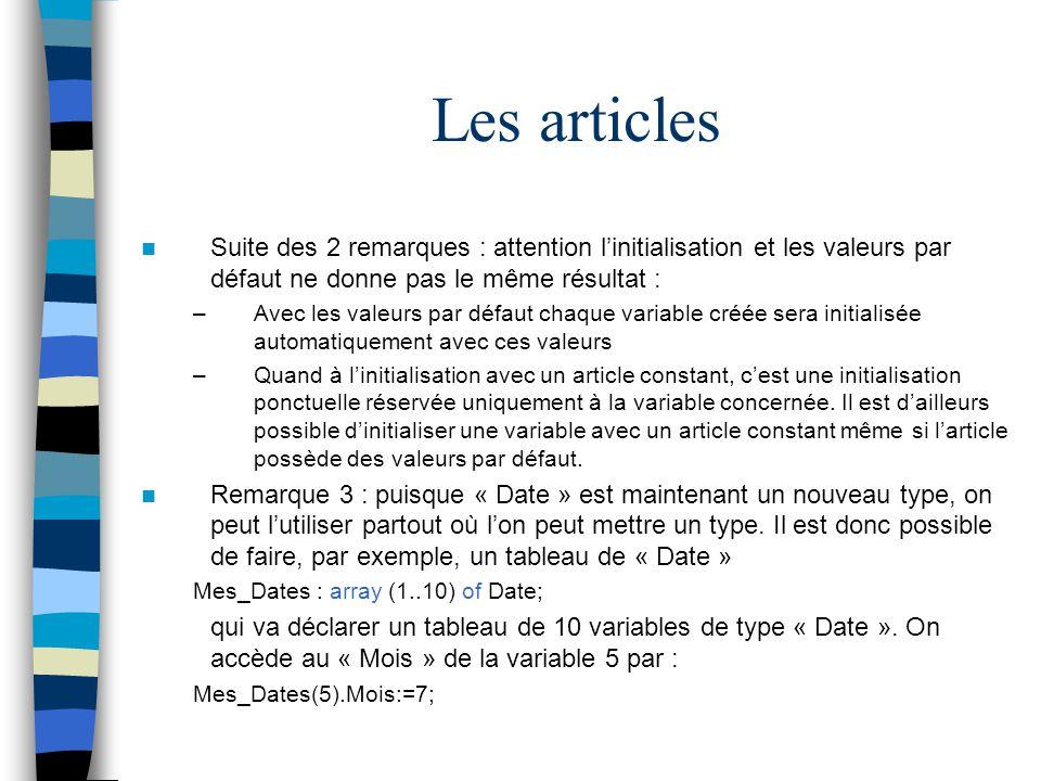 Les articles Suite des 2 remarques : attention linitialisation et les valeurs par défaut ne donne pas le même résultat : –Avec les valeurs par défaut