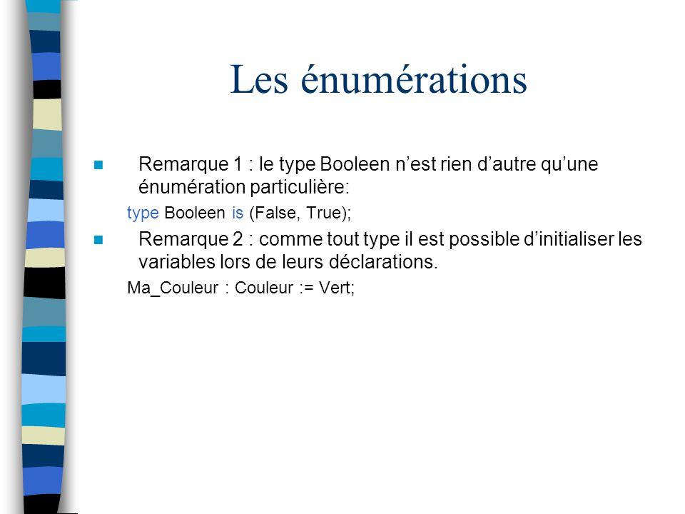 Les énumérations Remarque 1 : le type Booleen nest rien dautre quune énumération particulière: type Booleen is (False, True); Remarque 2 : comme tout