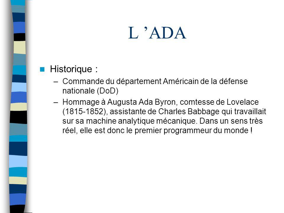 L ADA Historique : –Commande du département Américain de la défense nationale (DoD) –Hommage à Augusta Ada Byron, comtesse de Lovelace (1815-1852), as