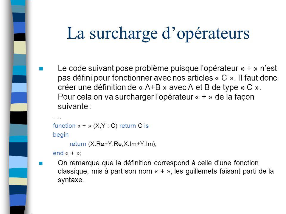 La surcharge dopérateurs Le code suivant pose problème puisque lopérateur « + » nest pas défini pour fonctionner avec nos articles « C ». Il faut donc