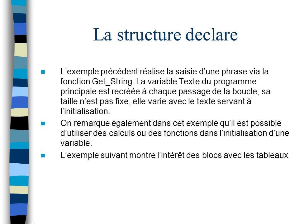 La structure declare Lexemple précédent réalise la saisie dune phrase via la fonction Get_String. La variable Texte du programme principale est recréé
