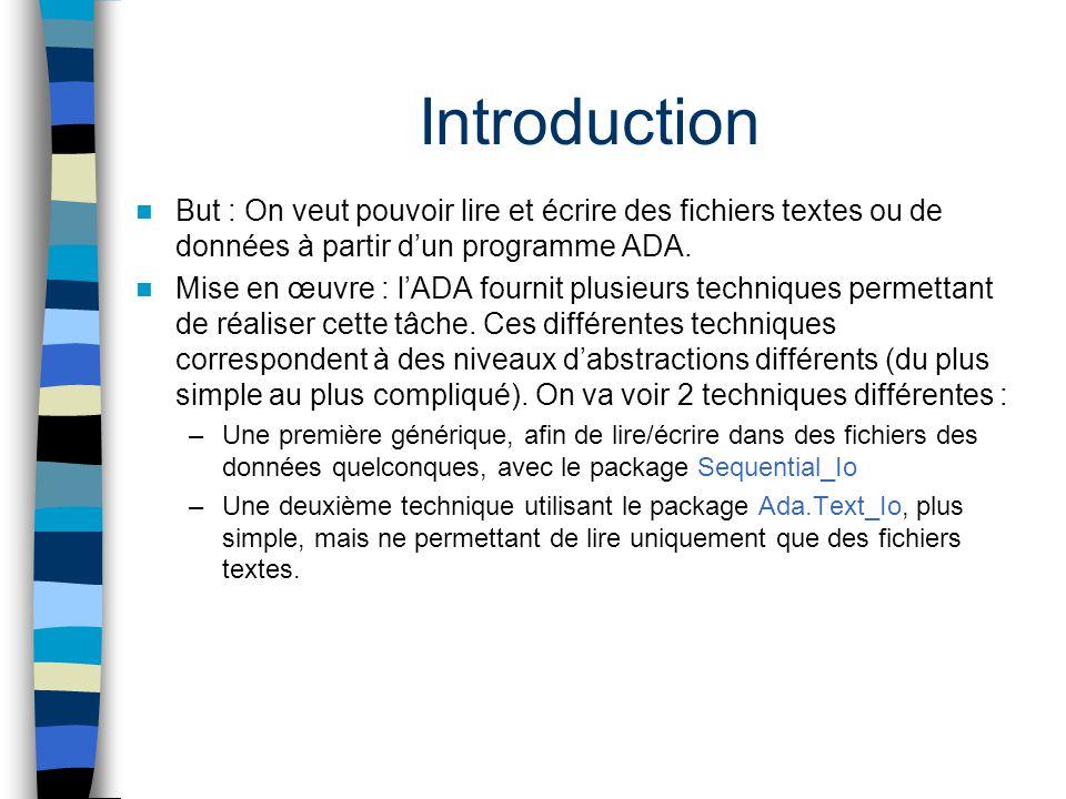 Introduction But : On veut pouvoir lire et écrire des fichiers textes ou de données à partir dun programme ADA. Mise en œuvre : lADA fournit plusieurs