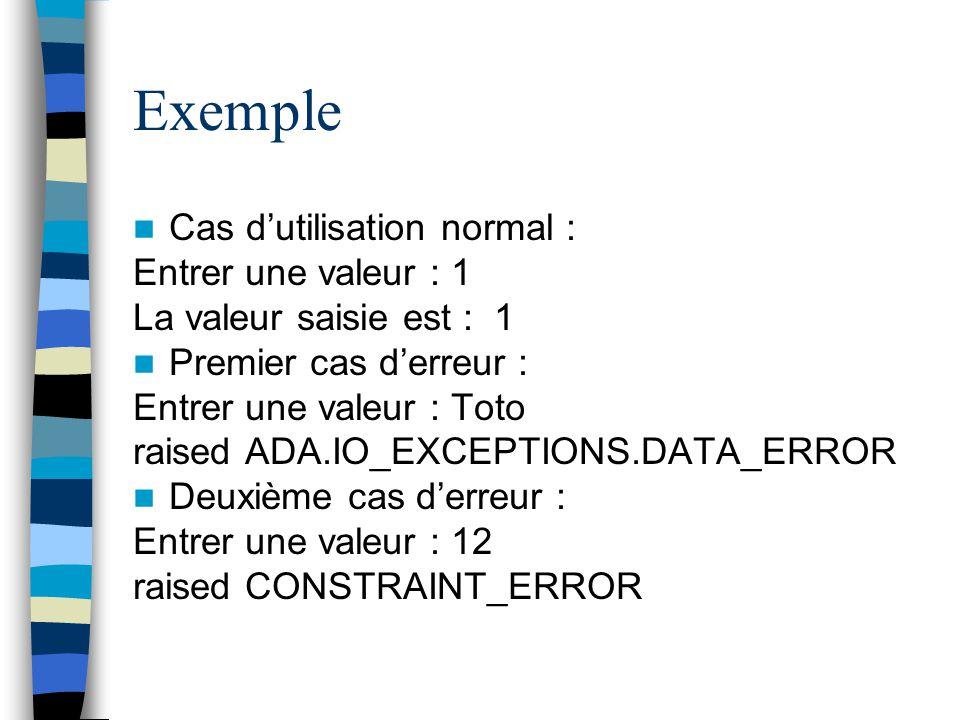 Exemple Cas dutilisation normal : Entrer une valeur : 1 La valeur saisie est : 1 Premier cas derreur : Entrer une valeur : Toto raised ADA.IO_EXCEPTIO