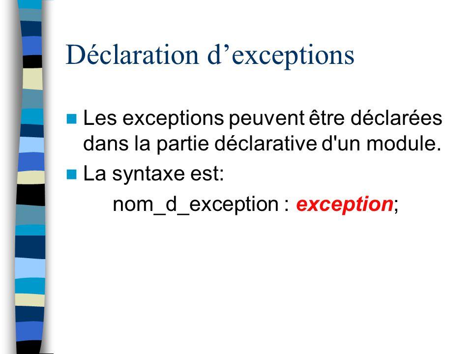 Déclaration dexceptions Les exceptions peuvent être déclarées dans la partie déclarative d'un module. La syntaxe est: nom_d_exception : exception;
