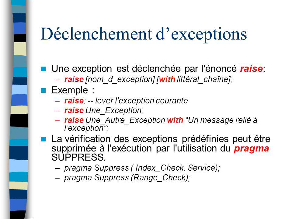 Déclenchement dexceptions Une exception est déclenchée par l'énoncé raise: –raise [nom_d_exception] [with littéral_chaîne]; Exemple : –raise; -- lever