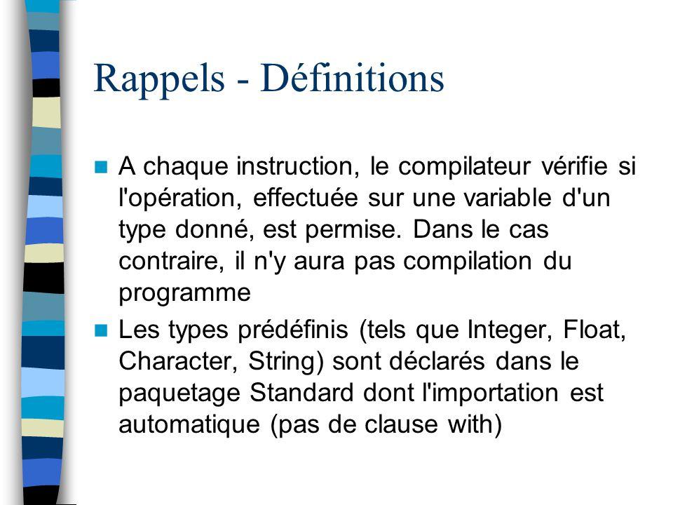 Rappels - Définitions A chaque instruction, le compilateur vérifie si l'opération, effectuée sur une variable d'un type donné, est permise. Dans le ca