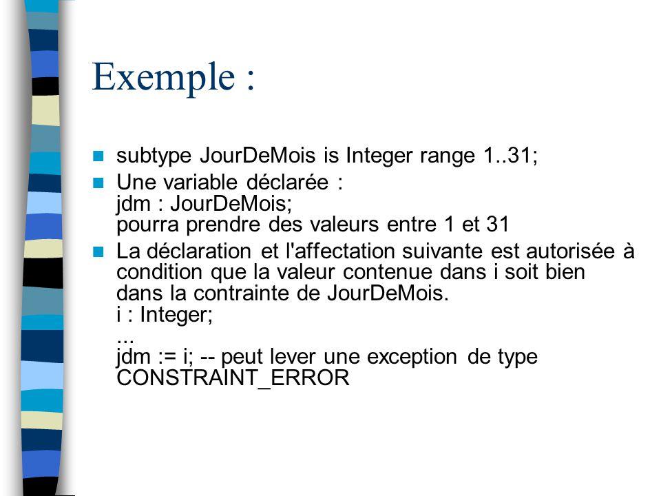 Exemple : subtype JourDeMois is Integer range 1..31; Une variable déclarée : jdm : JourDeMois; pourra prendre des valeurs entre 1 et 31 La déclaration