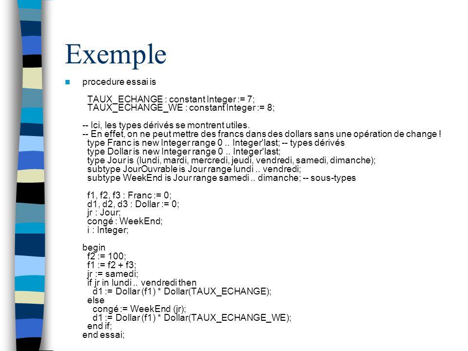 Exemple procedure essai is TAUX_ECHANGE : constant Integer := 7; TAUX_ECHANGE_WE : constant Integer := 8; -- Ici, les types dérivés se montrent utiles