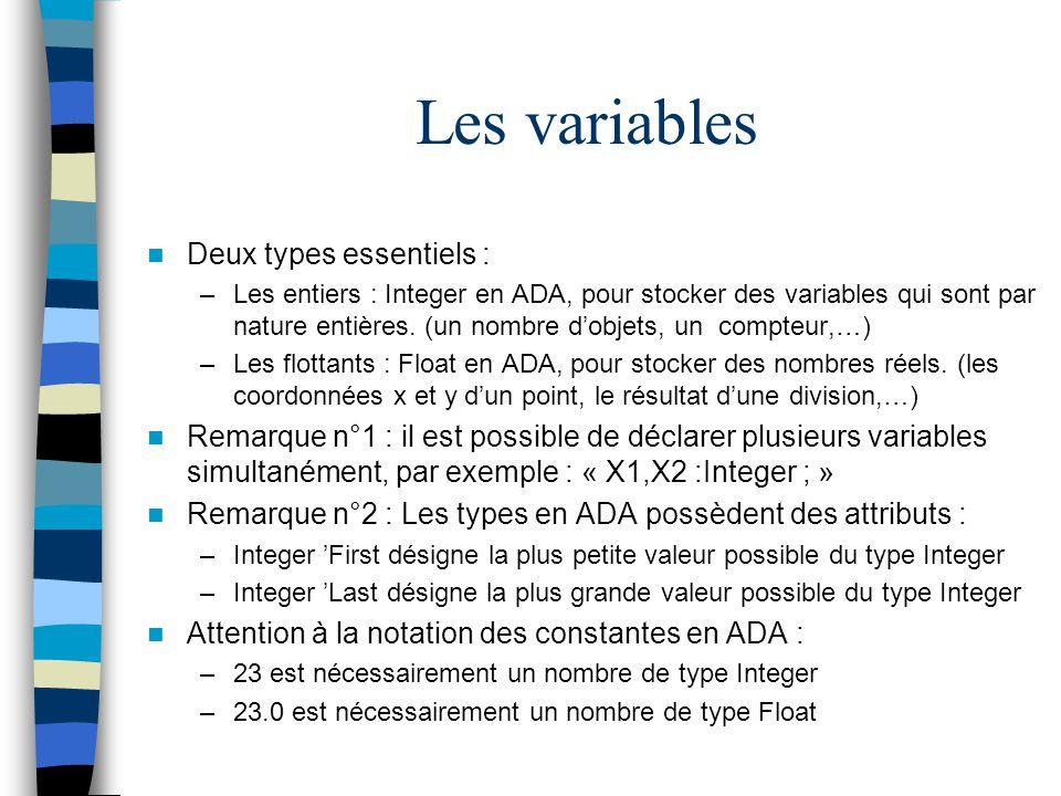 Les variables Deux types essentiels : –Les entiers : Integer en ADA, pour stocker des variables qui sont par nature entières. (un nombre dobjets, un c