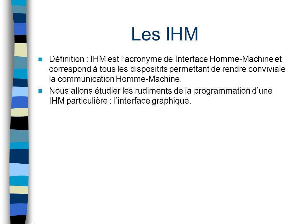 Les IHM Définition : IHM est lacronyme de Interface Homme-Machine et correspond à tous les dispositifs permettant de rendre conviviale la communicatio