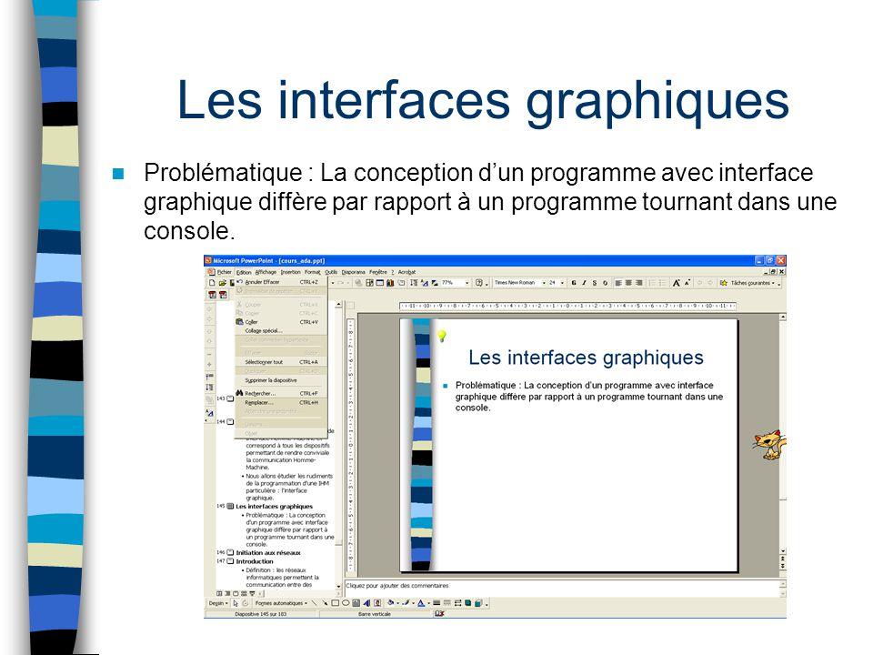 Les interfaces graphiques Problématique : La conception dun programme avec interface graphique diffère par rapport à un programme tournant dans une co