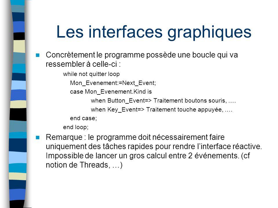 Les interfaces graphiques Concrètement le programme possède une boucle qui va ressembler à celle-ci : while not quitter loop Mon_Evenement:=Next_Event