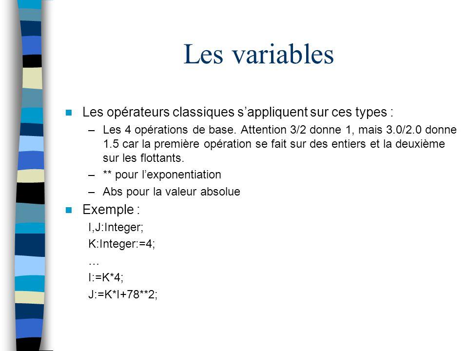 Les variables Les opérateurs classiques sappliquent sur ces types : –Les 4 opérations de base. Attention 3/2 donne 1, mais 3.0/2.0 donne 1.5 car la pr