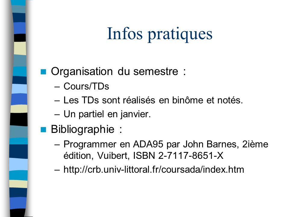 Infos pratiques Organisation du semestre : –Cours/TDs –Les TDs sont réalisés en binôme et notés. –Un partiel en janvier. Bibliographie : –Programmer e