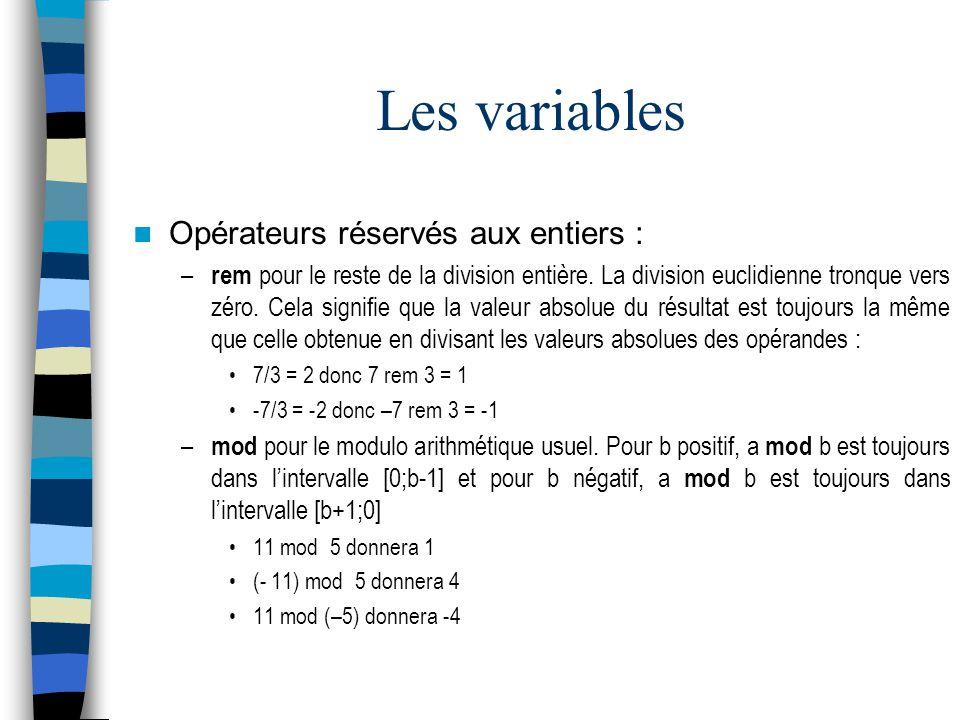 Les variables Opérateurs réservés aux entiers : – rem pour le reste de la division entière. La division euclidienne tronque vers zéro. Cela signifie q