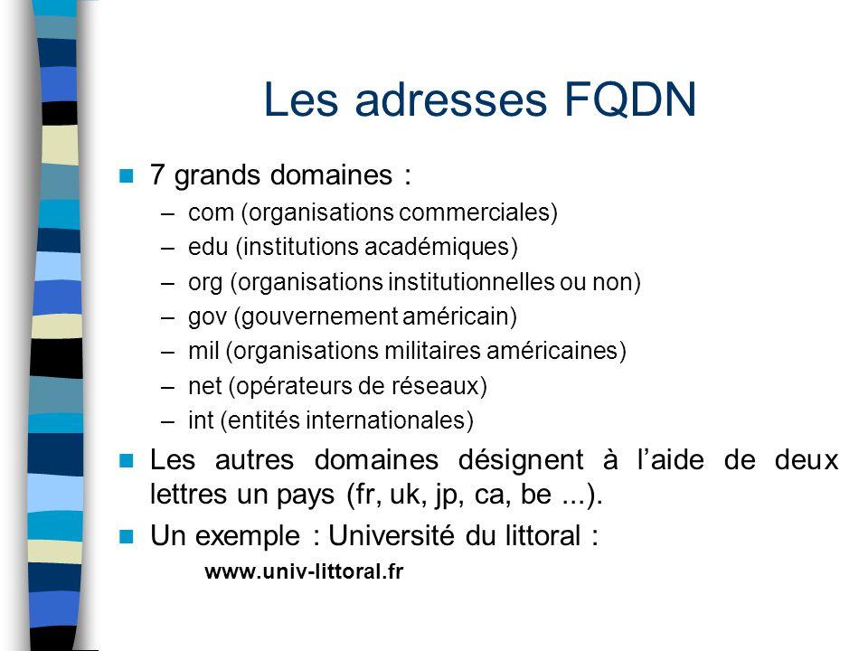 Les adresses FQDN 7 grands domaines : –com (organisations commerciales) –edu (institutions académiques) –org (organisations institutionnelles ou non)