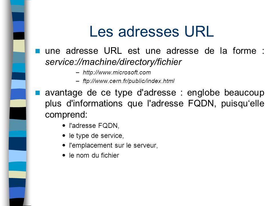 Les adresses URL une adresse URL est une adresse de la forme : service://machine/directory/fichier –http://www.microsoft.com –ftp://www.cern.fr/public