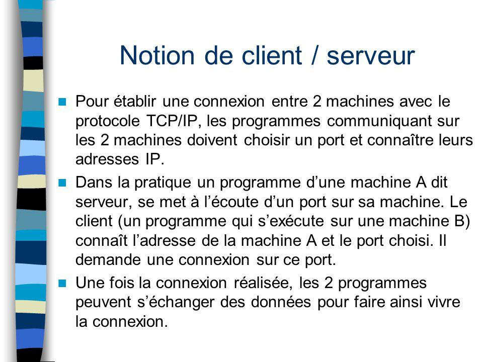 Notion de client / serveur Pour établir une connexion entre 2 machines avec le protocole TCP/IP, les programmes communiquant sur les 2 machines doiven