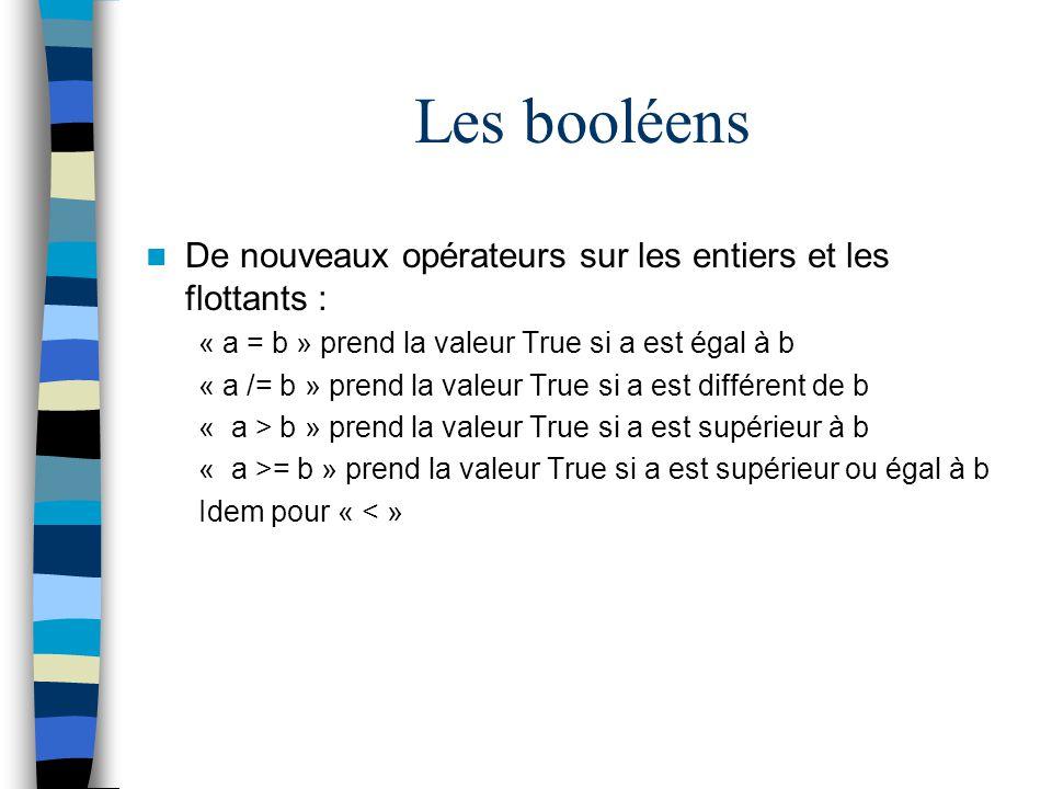 Les booléens De nouveaux opérateurs sur les entiers et les flottants : « a = b » prend la valeur True si a est égal à b « a /= b » prend la valeur Tru