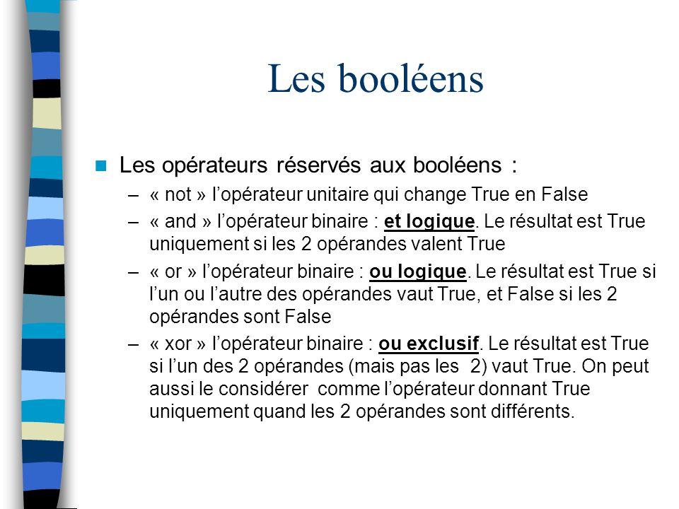 Les booléens Les opérateurs réservés aux booléens : –« not » lopérateur unitaire qui change True en False –« and » lopérateur binaire : et logique. Le
