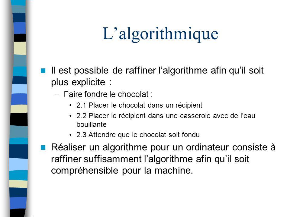 Lalgorithmique Il est possible de raffiner lalgorithme afin quil soit plus explicite : –Faire fondre le chocolat : 2.1 Placer le chocolat dans un réci