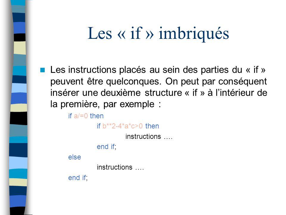 Les « if » imbriqués Les instructions placés au sein des parties du « if » peuvent être quelconques. On peut par conséquent insérer une deuxième struc