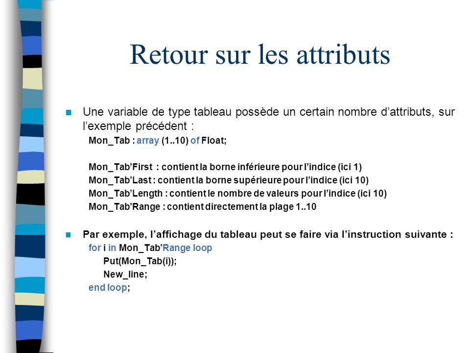 Retour sur les attributs Une variable de type tableau possède un certain nombre dattributs, sur lexemple précédent : Mon_Tab : array (1..10) of Float;