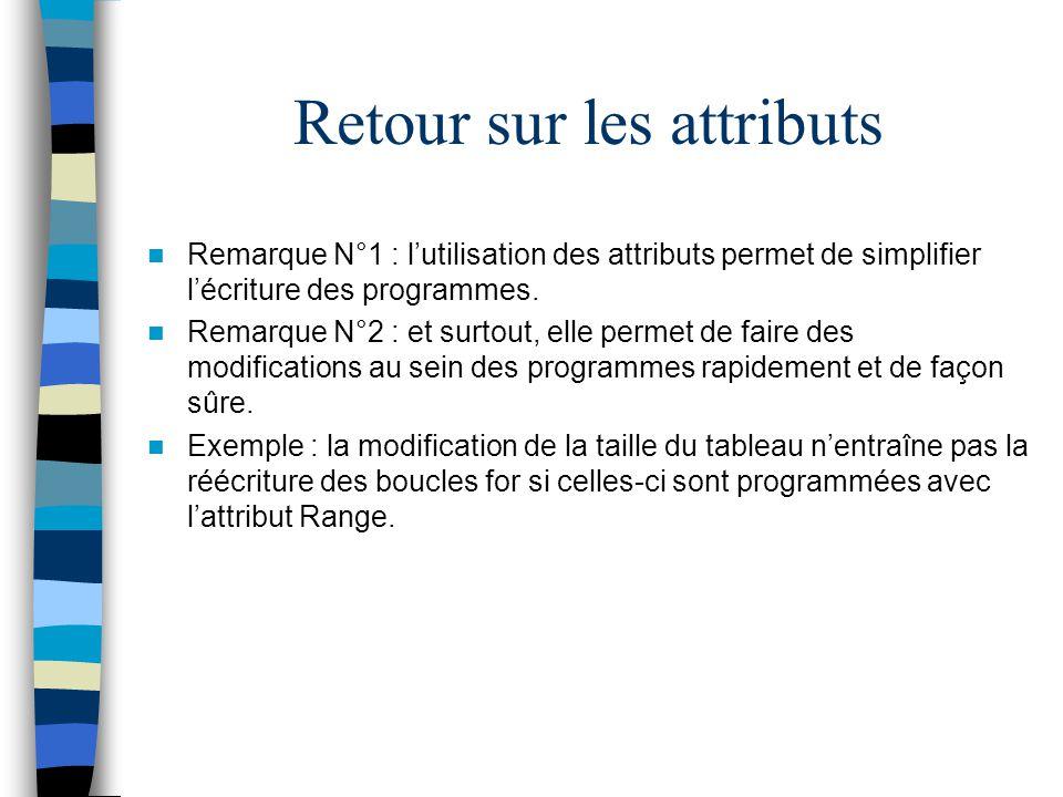 Retour sur les attributs Remarque N°1 : lutilisation des attributs permet de simplifier lécriture des programmes. Remarque N°2 : et surtout, elle perm