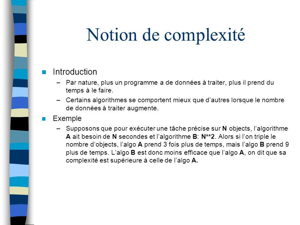 Notion de complexité Introduction –Par nature, plus un programme a de données à traiter, plus il prend du temps à le faire. –Certains algorithmes se c