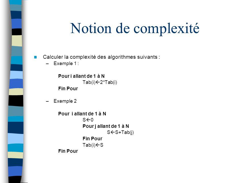 Notion de complexité Calculer la complexité des algorithmes suivants : –Exemple 1 : Pour i allant de 1 à N Tab(i) 2*Tab(i) Fin Pour –Exemple 2 Pour i