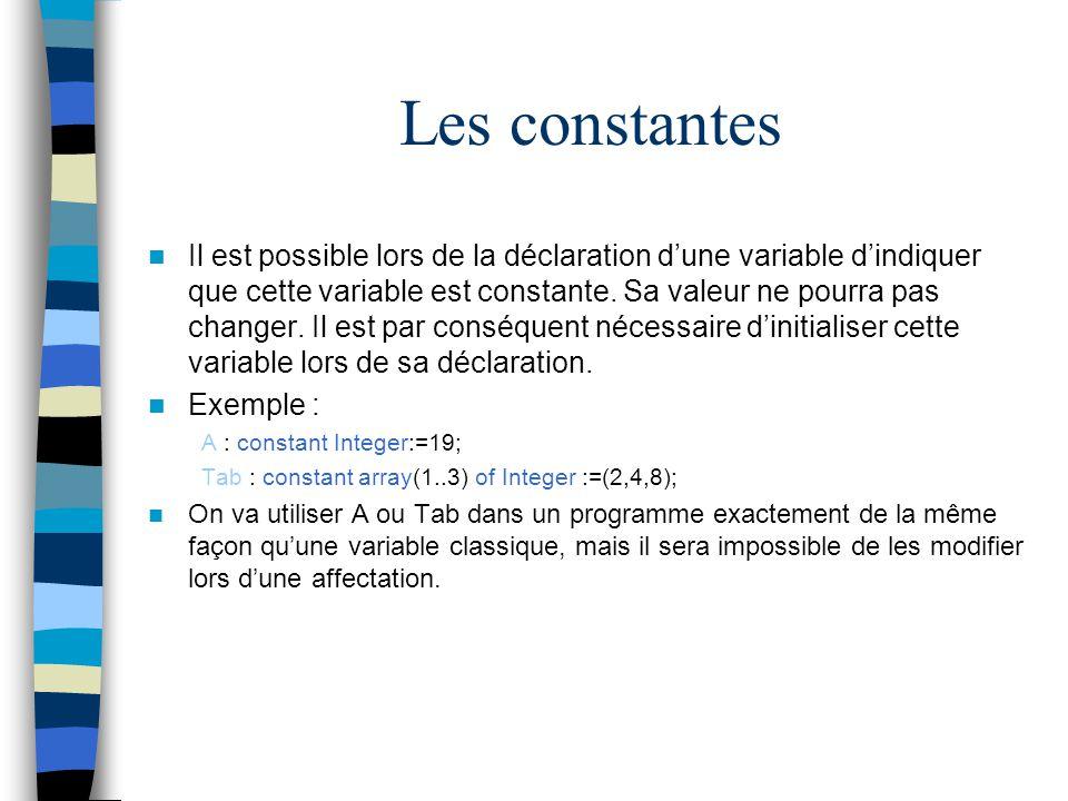 Les constantes Il est possible lors de la déclaration dune variable dindiquer que cette variable est constante. Sa valeur ne pourra pas changer. Il es