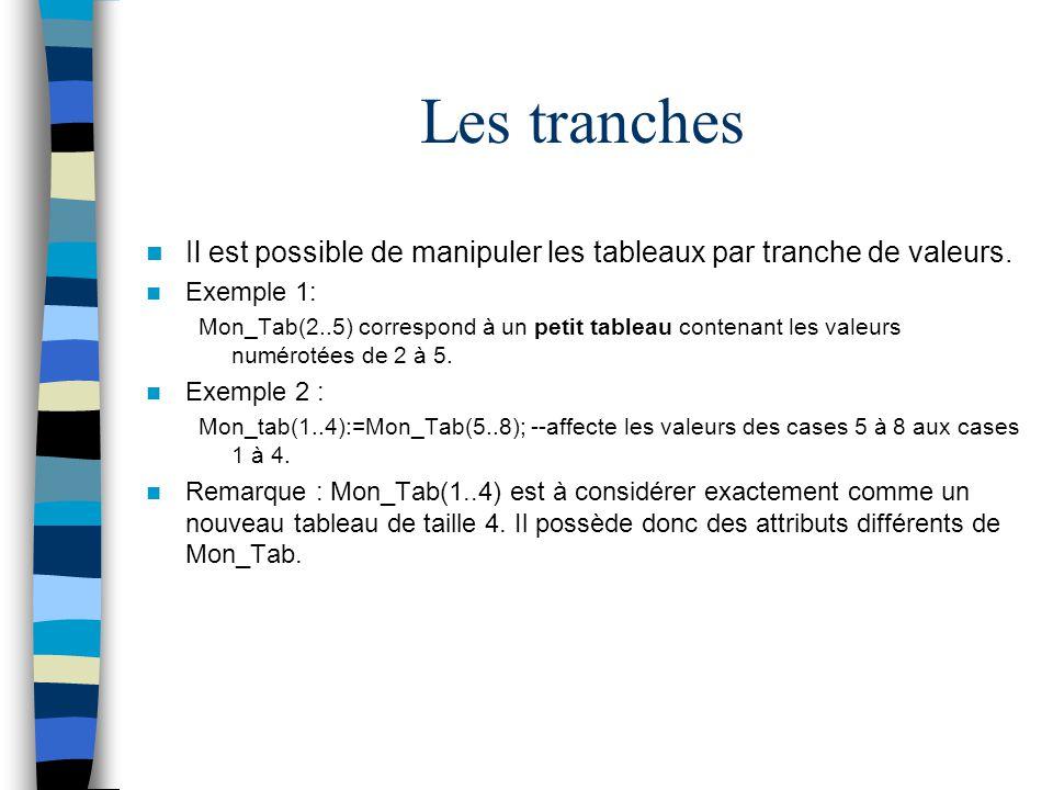 Les tranches Il est possible de manipuler les tableaux par tranche de valeurs. Exemple 1: Mon_Tab(2..5) correspond à un petit tableau contenant les va