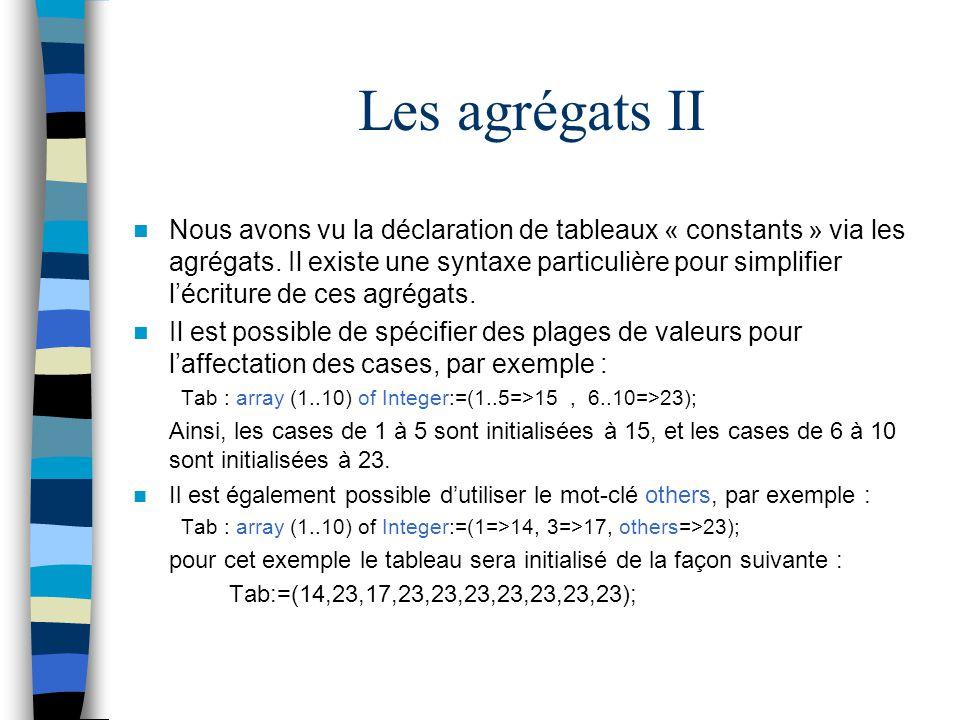 Les agrégats II Nous avons vu la déclaration de tableaux « constants » via les agrégats. Il existe une syntaxe particulière pour simplifier lécriture