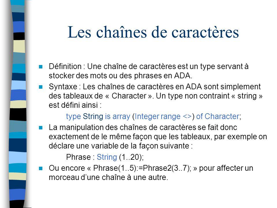 Les chaînes de caractères Définition : Une chaîne de caractères est un type servant à stocker des mots ou des phrases en ADA. Syntaxe : Les chaînes de