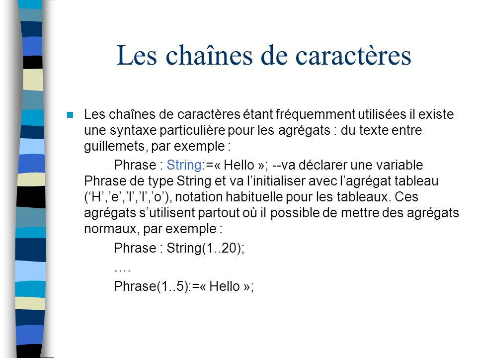 Les chaînes de caractères Les chaînes de caractères étant fréquemment utilisées il existe une syntaxe particulière pour les agrégats : du texte entre