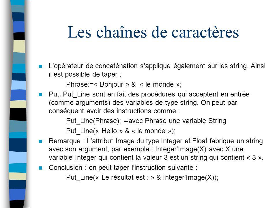 Les chaînes de caractères Lopérateur de concaténation sapplique également sur les string. Ainsi il est possible de taper : Phrase:=« Bonjour » & « le