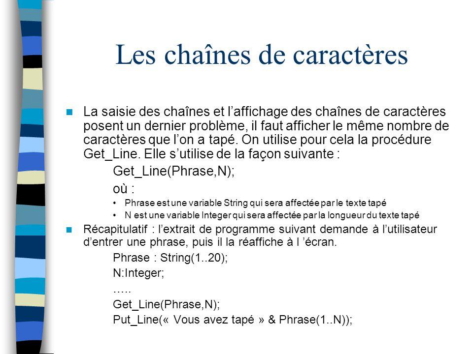 Les chaînes de caractères La saisie des chaînes et laffichage des chaînes de caractères posent un dernier problème, il faut afficher le même nombre de