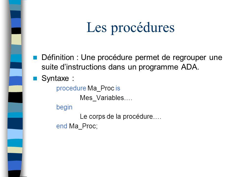 Les procédures Définition : Une procédure permet de regrouper une suite dinstructions dans un programme ADA. Syntaxe : procedure Ma_Proc is Mes_Variab
