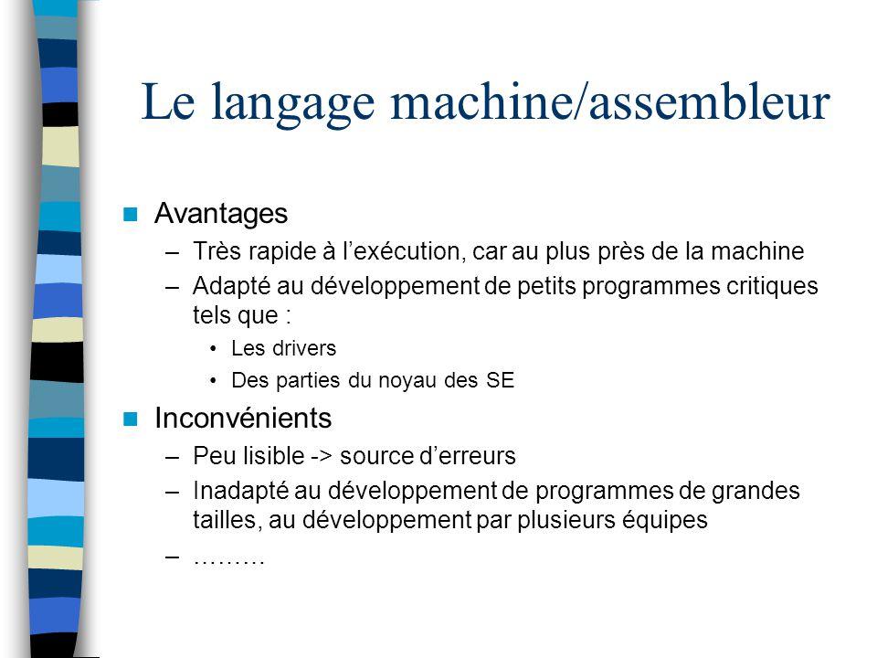 Le langage machine/assembleur Avantages –Très rapide à lexécution, car au plus près de la machine –Adapté au développement de petits programmes critiq