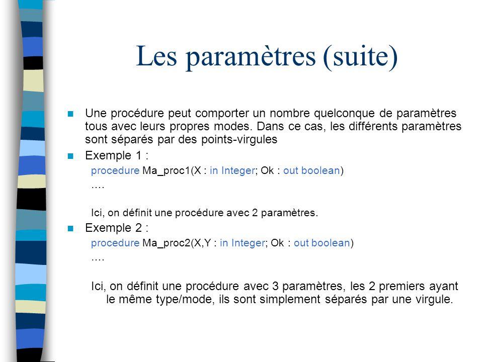 Les paramètres (suite) Une procédure peut comporter un nombre quelconque de paramètres tous avec leurs propres modes. Dans ce cas, les différents para