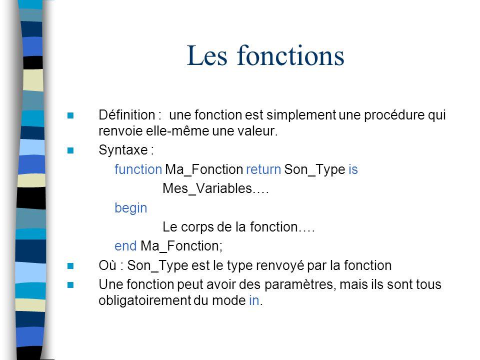 Les fonctions Définition : une fonction est simplement une procédure qui renvoie elle-même une valeur. Syntaxe : function Ma_Fonction return Son_Type