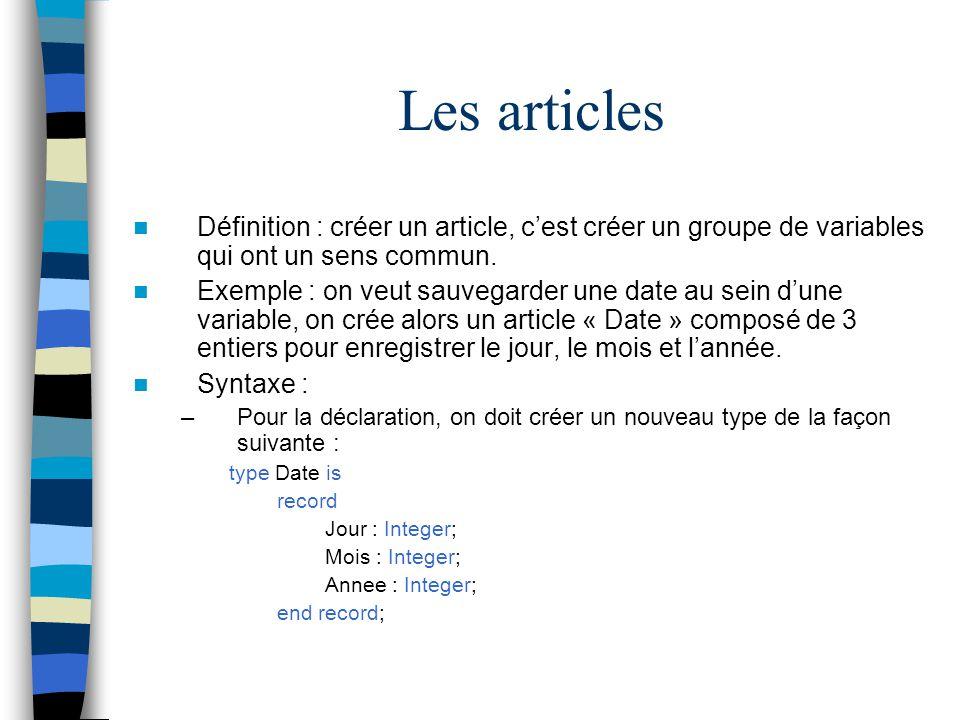 Définition : créer un article, cest créer un groupe de variables qui ont un sens commun. Exemple : on veut sauvegarder une date au sein dune variable,