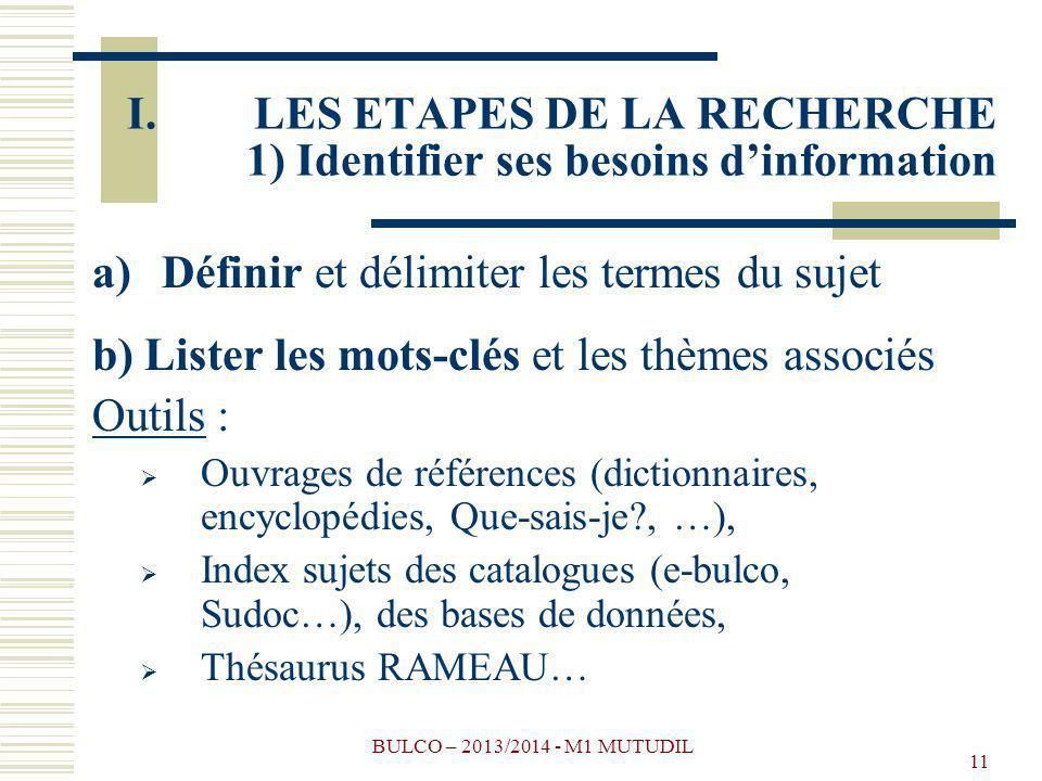 BULCO – 2013/2014 - M1 MUTUDIL 11 I.LES ETAPES DE LA RECHERCHE 1) Identifier ses besoins dinformation a)Définir et délimiter les termes du sujet b) Lister les mots-clés et les thèmes associés Outils : Ouvrages de références (dictionnaires, encyclopédies, Que-sais-je?, …), Index sujets des catalogues (e-bulco, Sudoc…), des bases de données, Thésaurus RAMEAU…