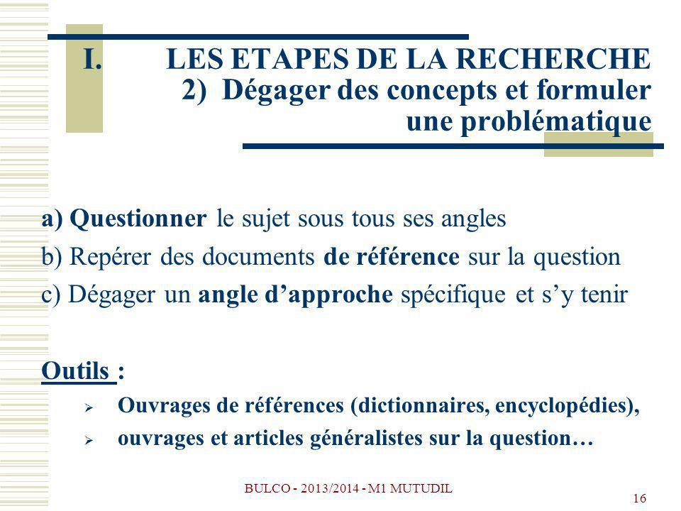 BULCO - 2013/2014 - M1 MUTUDIL 16 a) Questionner le sujet sous tous ses angles b) Repérer des documents de référence sur la question c) Dégager un ang